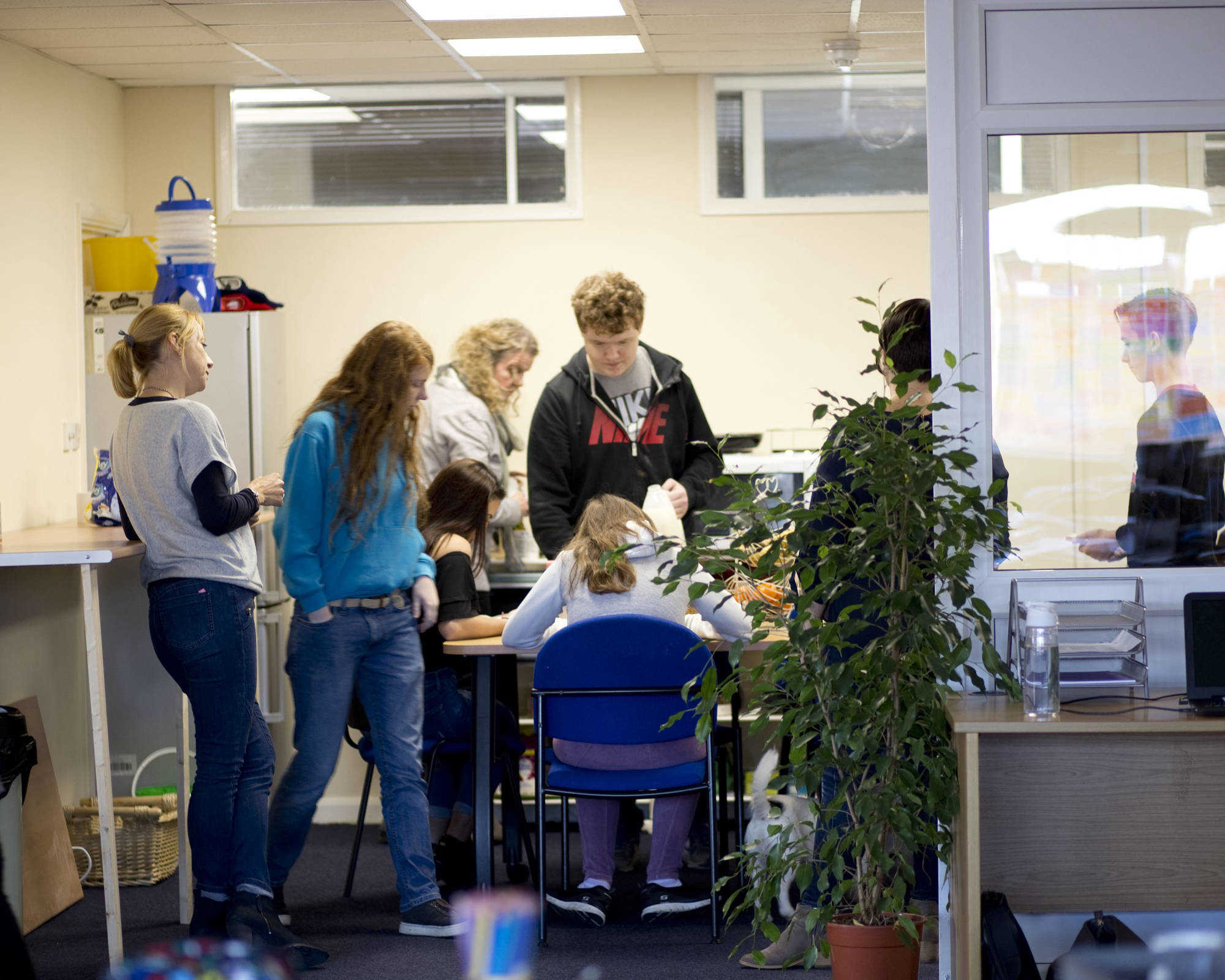Pupils in common room