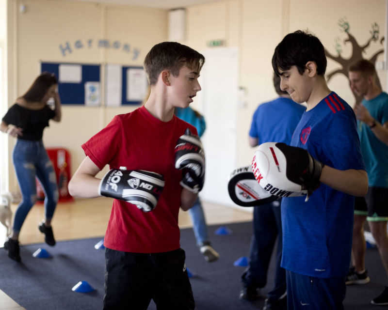 Boys boxing